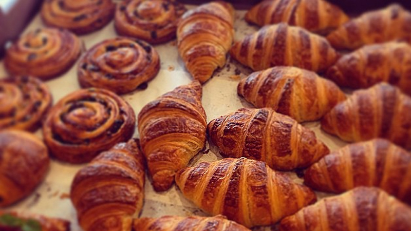 Delicious pastry snails and croissants baked on site at the Noosa Bread Shop. Photo: Noosa Bread Shop